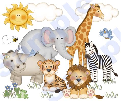 jungle zoo animals wall mural decals baby nursery kids
