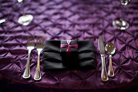 purple and black table settings traditional purple and pink wedding by kimberley chau photography