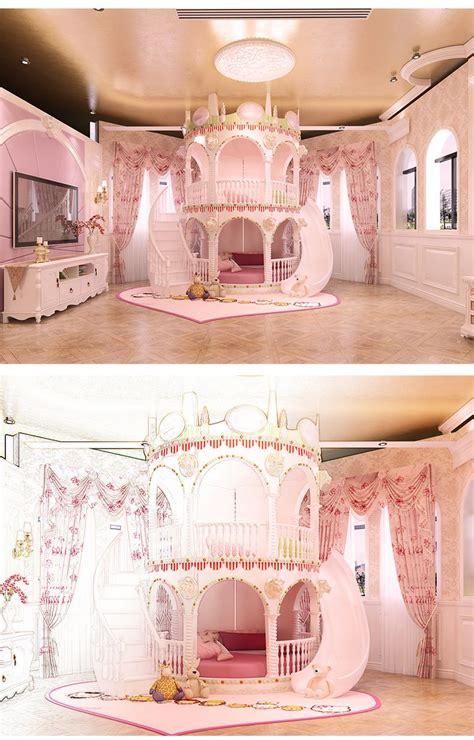 chambre princesse fille enfants de diapositives lit belle unique rose chateau lit filles