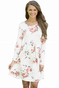 us 792 white chic long sleeve boho floral pattern dress With robe fleurie courte