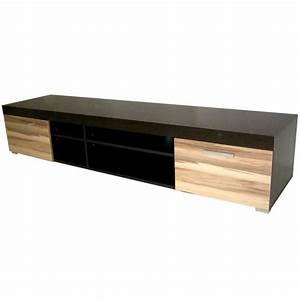 Meuble Bois Et Noir : meuble tv bois noir et ch ne atlanta achat vente ~ Dailycaller-alerts.com Idées de Décoration