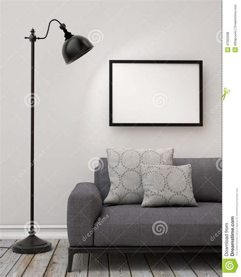 Download free wall poster mockup template. Mock Up Blank Poster On The Wall Of Living Room, Background Stock Illustration - Illustration of ...