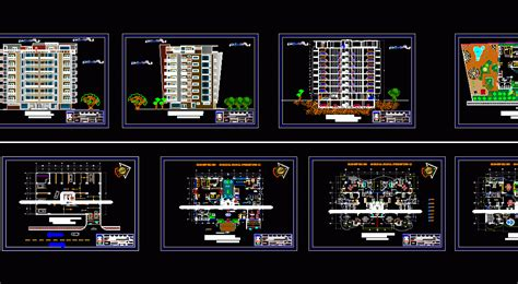 apartment building  levels  dwg design plan  autocad designs cad
