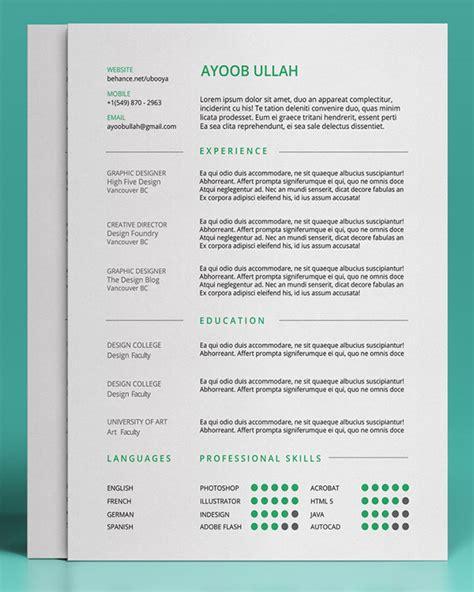 free simple resume templates 20 free editable cv resume templates for ps ai