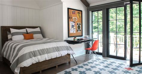 Salvaged Wood Kids Bed With Gray Striped Duvet And Orange