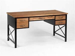 Bureau Bois Metal : bureau en m tal et bois avec 4 tiroirs longueur 146cm clayton ~ Teatrodelosmanantiales.com Idées de Décoration