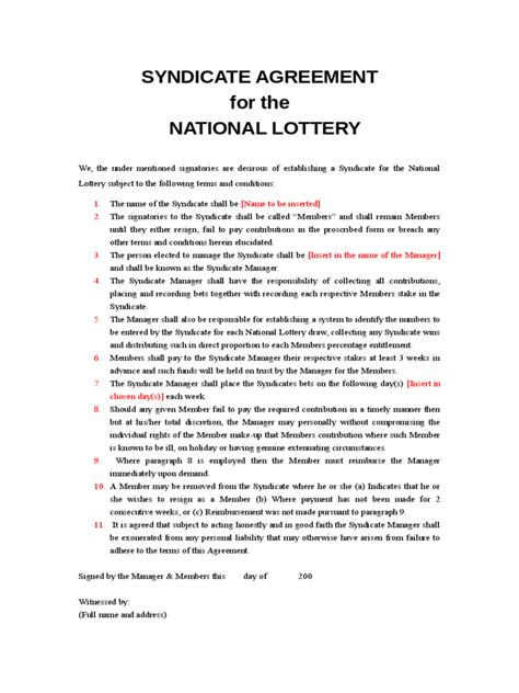 Lottery Contract Template by Lottery Syndicate Agreement Form 6 Free Templates In Pdf