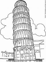 Tower Pisa Leaning Coloring Colouring sketch template