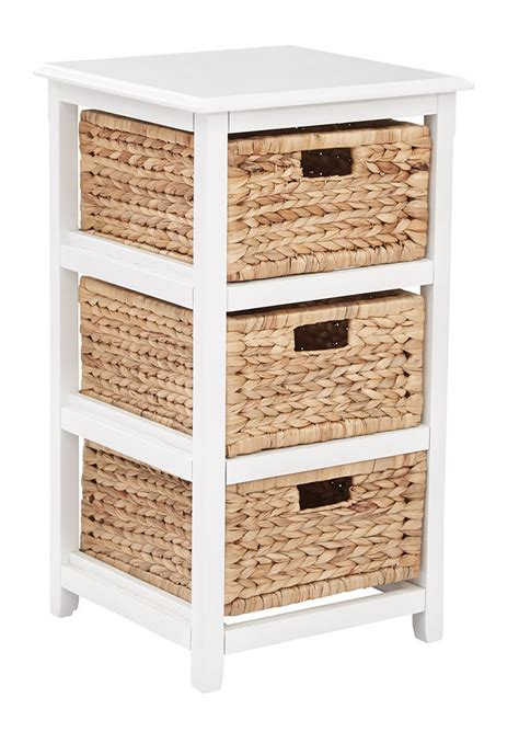 side table with baskets 3 drawer espresso or white wood storage tower w baskets