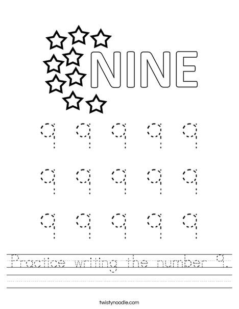 Practice Writing The Number 9 Worksheet  Twisty Noodle