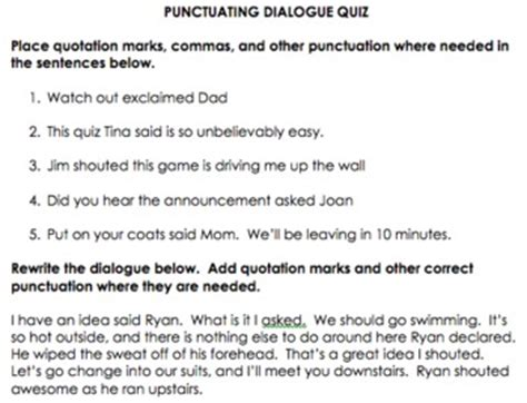 punctuating dialogue quiz  quotation marks correctly
