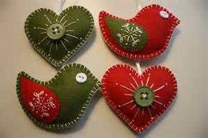 christmas felt ornaments birds and hearts