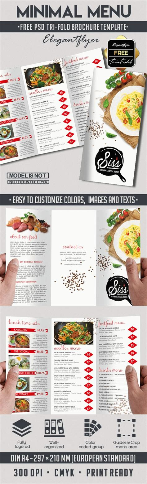 Template Brochure For Restaurant By Elegantflyer Free Psd Brochure For Minimal Menu By Elegantflyer