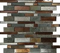 mosaic tile backsplash 10SF- Metallic Brown Glass Natural Stone Mosaic Tile Wall ...