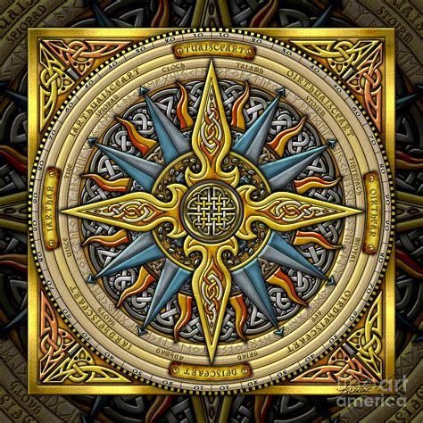 Celtic Compass Mixed Media by Kristen Fox