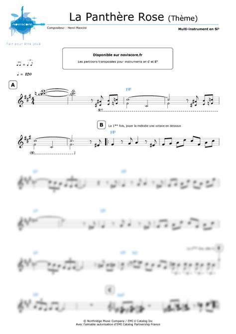 si鑒e pour piano partition la panthère thème henry mancini partition facile noviscore