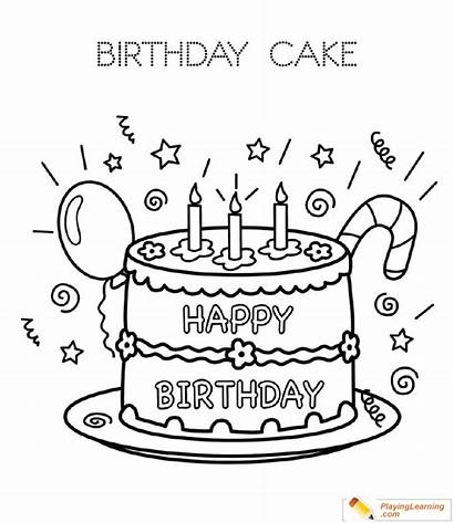 Birthday Coloring Cake Pages Candles Happy Sheets