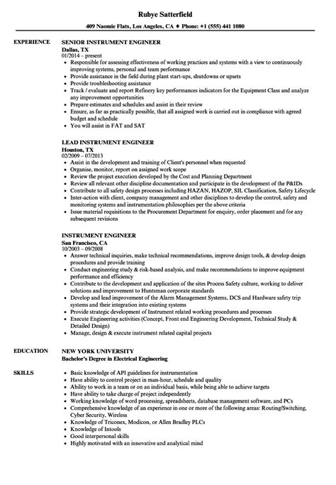 instrument engineer resume sles velvet