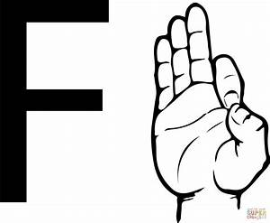 Asl sign language letter f coloring page free printable for Letter a sign