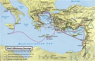 Apostle Paul's Missionary Journeys Map