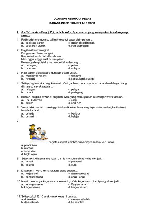 Kelas 12 smk bahasa indonesia. Ulangan Kenaikan Kelas Bahasa Indonesia Kelas 3
