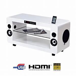 Meuble Tv Home Cinema Intégré : soundvision sv200w meuble home cin ma 2 1 blanc meuble ~ Melissatoandfro.com Idées de Décoration