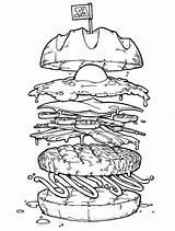 Burger Coloring Egg Colouring Drawing Cheeseburger Colornimbus Disegno Cibo Fried Mcdonalds Disegni Alimenti Illustrazioni Dibujos Hamburguesas Schizzi Mcdonald 1st Books sketch template