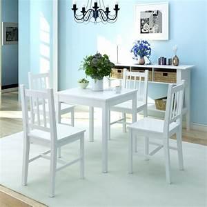 Esstisch Set Weiß : vidaxl f nfteiliges esstisch set pinienholz wei g nstig kaufen ~ Indierocktalk.com Haus und Dekorationen