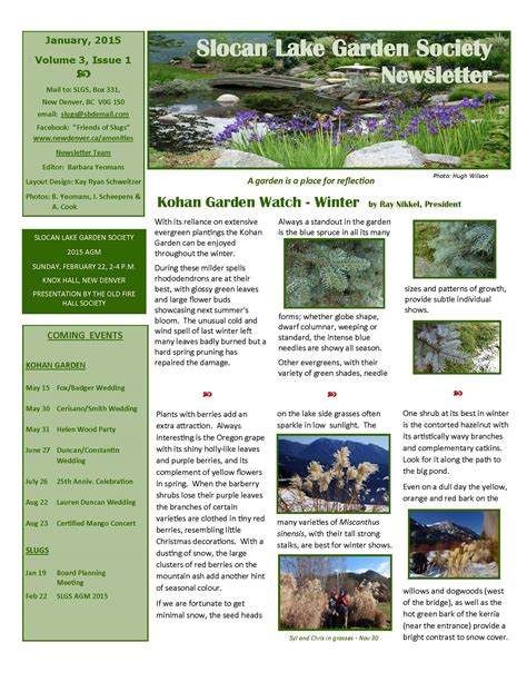 gardening newsletter kohan garden winter newsletter village of new denver