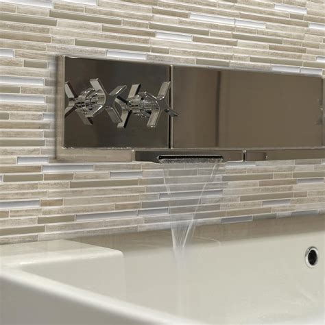 kitchen backsplash peel and stick tiles smart tiles taupe 9 88 in w x 9 70 in h peel and