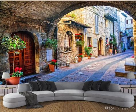 wallpaper living room italian town street view