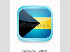 Stock Illustration of Smart phone button with Bahamas flag