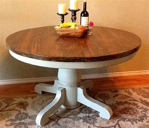 Vintage round pedestal table base painted pale gray for Round pedestal coffee table antique