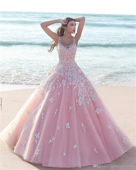 Princess Floral Flower Pink Ball Gown Quinceanera Dresses