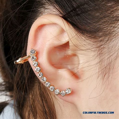 cheap upscale crystal ear clip earrings simple wild unilateral women ear jewelry hypoallergenic