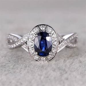 5x7mm oval cut blue sapphire and diamond engagement ring With blue sapphire wedding rings