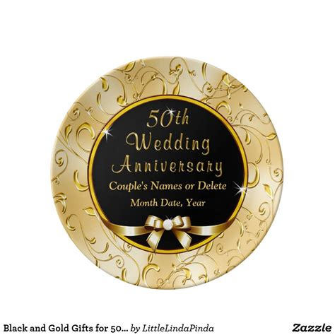 black  gold gifts   wedding anniversary dinner plate zazzlecom  wedding