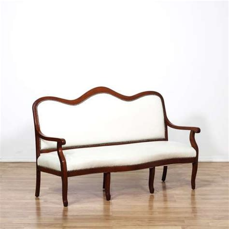 white leather settees cherry trim white leather settee loveseat loveseat