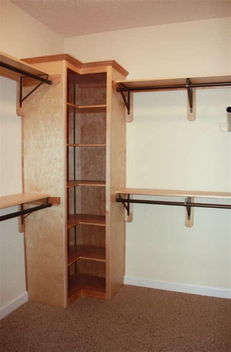building shelves in closet corner closet shelves design the homy design