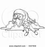 Skydiving Cartoon Outline Woman Clip Skydiver Parachute Coloring Clipart Print Illustration Poster Rf Royalty Toonaday Gnurf Clipartof sketch template