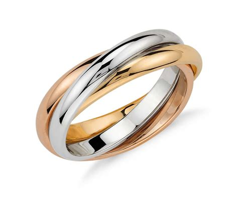 color ring trio rolling ring in 18k tri color gold blue nile