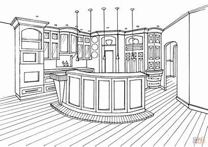 Coloring Kitchen Counter Bar Pages Drawing Printable