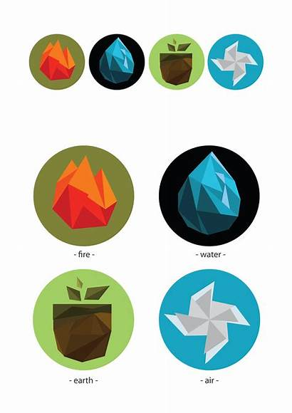 Elements Four Behance Polygon Symbols Water Project