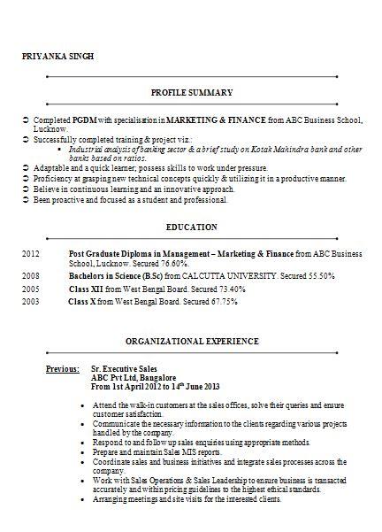 mba marketing finance resume sle doc 1 career