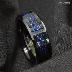 black titanium mens wedding bands 8 6mm tungsten carbide ring black celtic blue