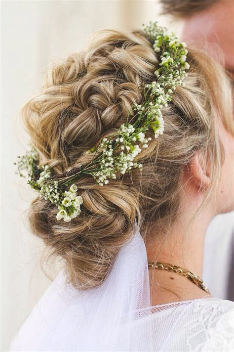 Boho Braided Twisted And Fishtail Wedding Up Do With Baby