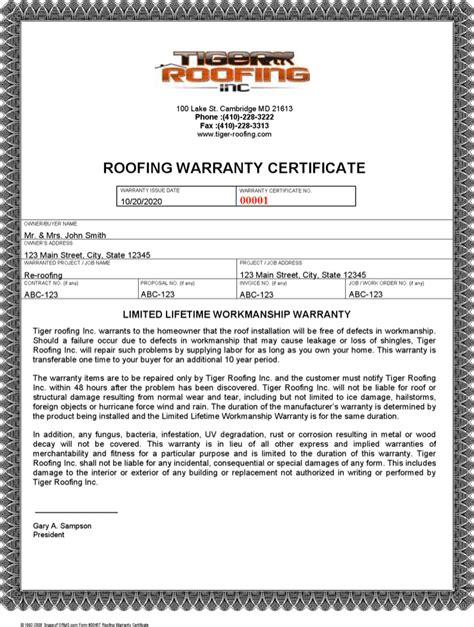 roof certification form template roofing warranty letter roofing contract template free sc 1 st s le templates