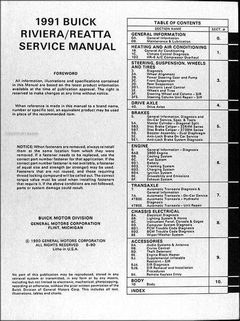 best auto repair manual 1990 buick reatta on board diagnostic system original 1991 buick riviera and reatta shop manual 91 oem repair service book ebay