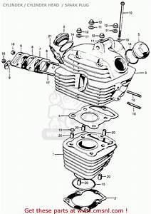Honda Cb100k0 Super Sport1970 Usa Cylinder    Cylinder Head