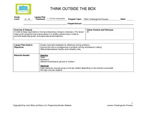 Thinking Outside The Box Lesson Plans & Worksheets
